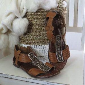 Sam Edelman Garrison Brown Tan Leather Sandals 8.5